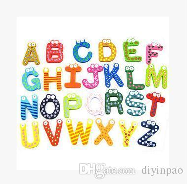 Words Fridge Magnets Children Kids Wooden Magnetic Sticker Cartoon Alphabet Education Learning Toys Home Decorations Free Shipping