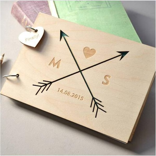 Custom Love Arrow Wedding Guest Book,Engraved Wooden Guest Book,Wedding Sign Book with Name & Date,Personalized Gift for Wedding