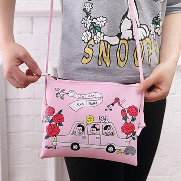 Cute Cartoon Pattern Printed PU Leather Lady's Bag Summer Spring Women Shoulder Bag Fashion Casual Female Bags Womens' Pouch