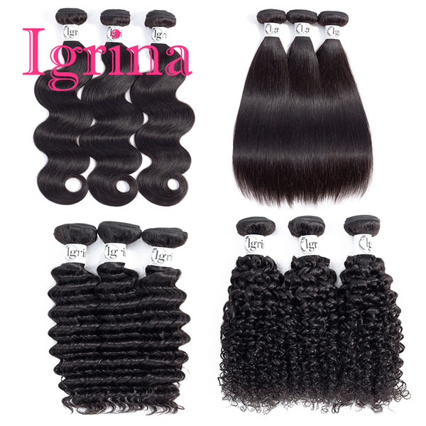 Igrina Brazilian Virgin Hair Straight Body Wave Indian Loose Deep Curly 4 Bundles Deals Good Cheap Weave Wet And Wavy Human Hair Extensions