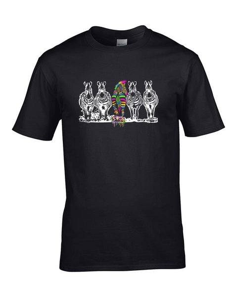 BORN TO BE DIFERENTE: Crazy Punk Zebra, camiseta para hombre, 2018, marca de moda, camiseta con cuello en O, 100% algodón, camiseta Tops,