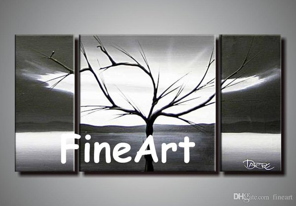 100% handmade oil canvas large canvas black white tree canvas painting hanging wall art contemporary artists painting for decoration