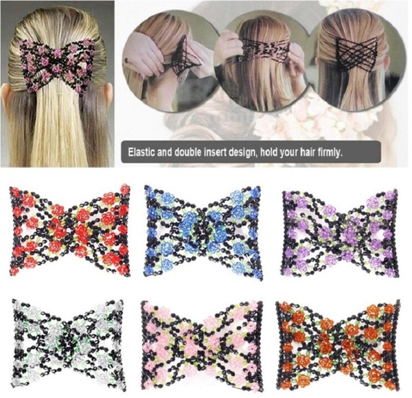 best selling Vintage Jewelled Beaded Elastic Stretch Rose Flower Bow Glass Bead Cuff Double Insert Clips Headwear Magic Hair Comb 8 Colors