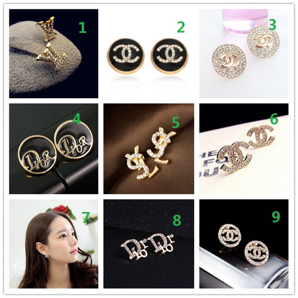 Wholesale PCS! Brand 14K Gold Silver Stud Earrings Pearl Diamond Corsage Classic Designer Letter Logo Collar Pin Party Wedding Jewelry AA5