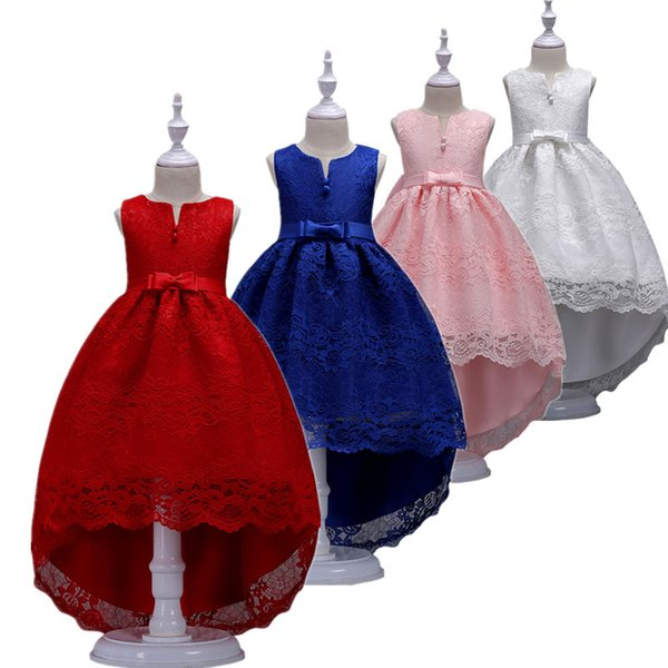 2018 Lovely Lace Appliqued Tulle Flower Girls Dresses Open Back With Bows Sash A Line Girls Birthday Party Dresses Kids Formal Wear