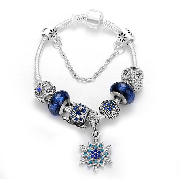 Blue Pumpkin Car Charm Beaded Bracelet Fit Pandora Style Snowflake Pendant Bracelet Christmas Gift Jewelry