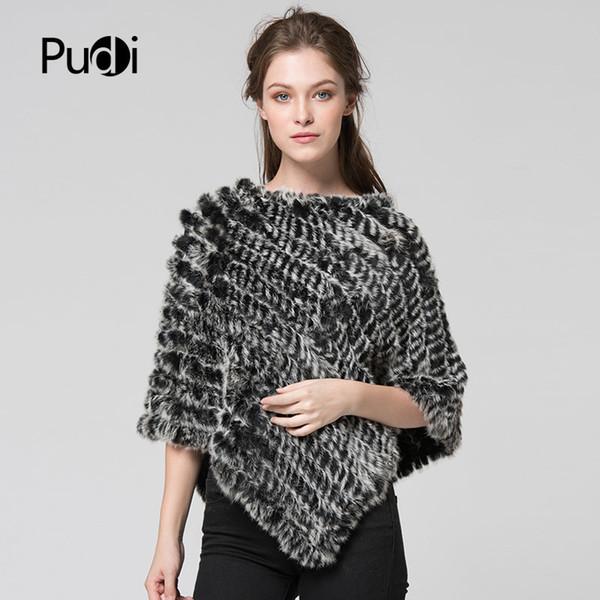 CK701 new winter women girl poncho Knit rabbit fur Shawl poncho stole shrug cape robe tippet wrap black white brown pink color S18120301