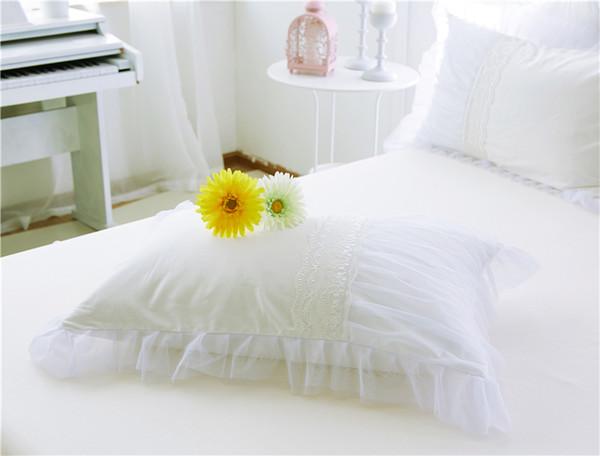 Yeni Baskılı Pamuk Yatak Etekler Beyaz Embroidey Dantel Yatak Örtüsü Çarşaf Düğün Için Ikiz Tam Kraliçe Kral Prenses Yatak Örtüsü
