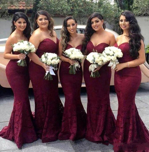 2018 Burgundy Sexy Sweetheart Strapless Lace Mermaid Bridesmaid Dresses Maid of Honor Wedding Guest Dresess Plus Size Prom Dresses Vestidos