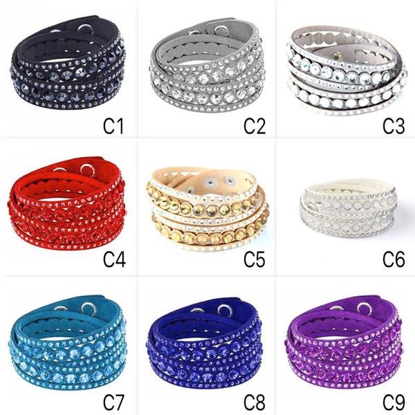 Franela de pulseras de múltiples capas Infinity con cristal PU cruzado de cuero hecho a mano pulseras del encanto del diseño de la vendimia para mujeres y hombres