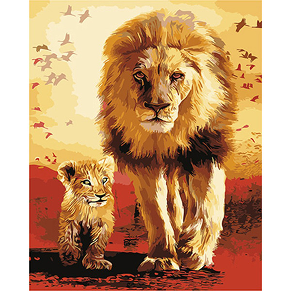 Frameless The Lions Animals Diy Painting By Numbers Modern Wall Art Canvas Acrylic Paint By Numbers Hand Painted For Home Decor