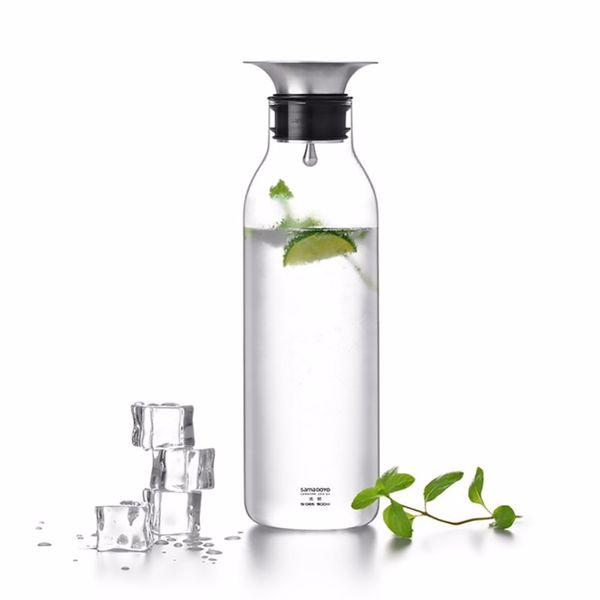 Manuelles Blasen Glas Wasserflasche Ransparent Hitzebeständigem Glas Krug kaltes Wasser oder Trinken 900ml SH158