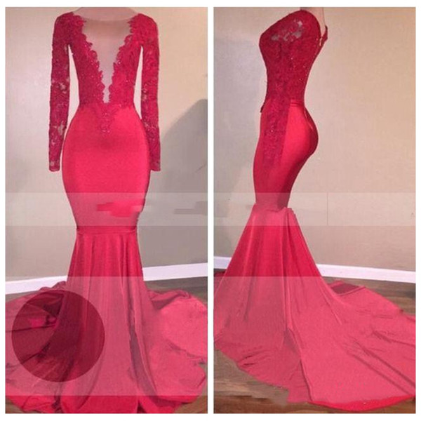 2018 Sheer Scoop Lace Appliques Long Sleeves Mermaid Red Prom Dresses Beautiful Elegant Long Women Formal Dresses Evening Party Gowns