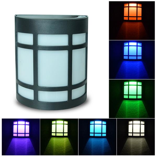 Mabor lantern Solar Lights Sensor Switch RGB Colorful Waterproof Wall Fence Light solar panels RGB Colorful Wall Fence Light Outdoor