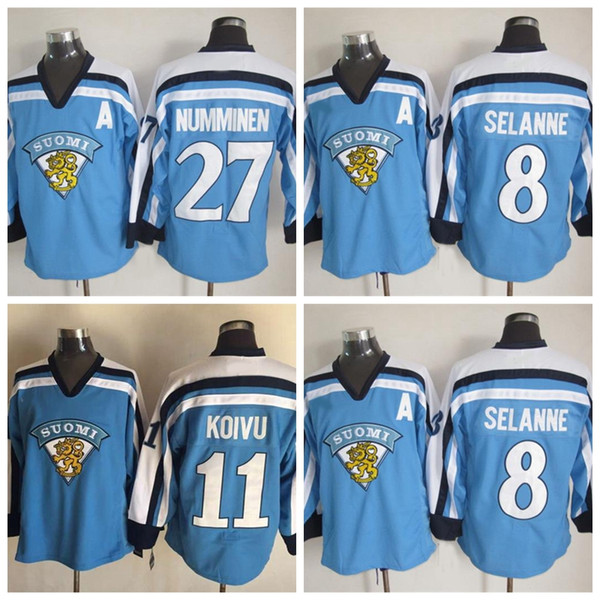 1998 Сборная Финляндии 11 Саку Койву хоккей Джерси 2002 Финляндия 8 TEEMU СЕЛАННА 27 Теппо NUMMINEN хоккейные майки