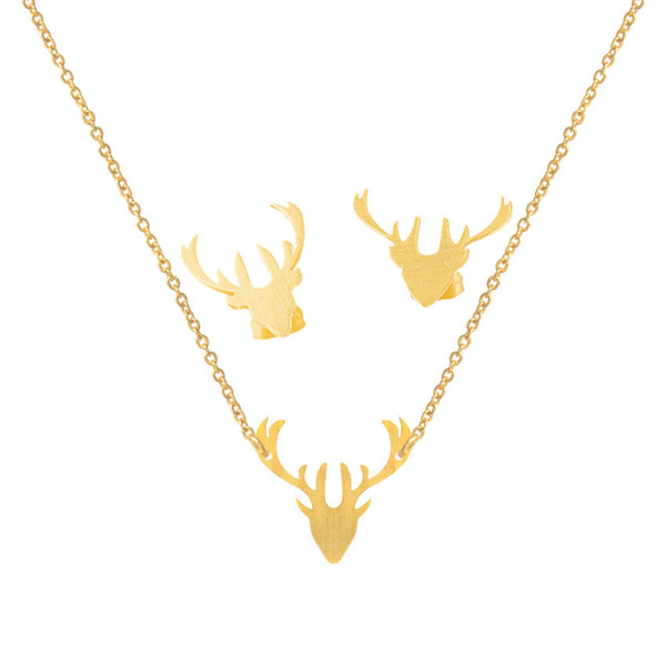 Minimalist Antlers Stud Earrings Necklaces For Women Men Stainless Steel Vintage Jewelry Set Gold Silver Colar Brinco Feminino