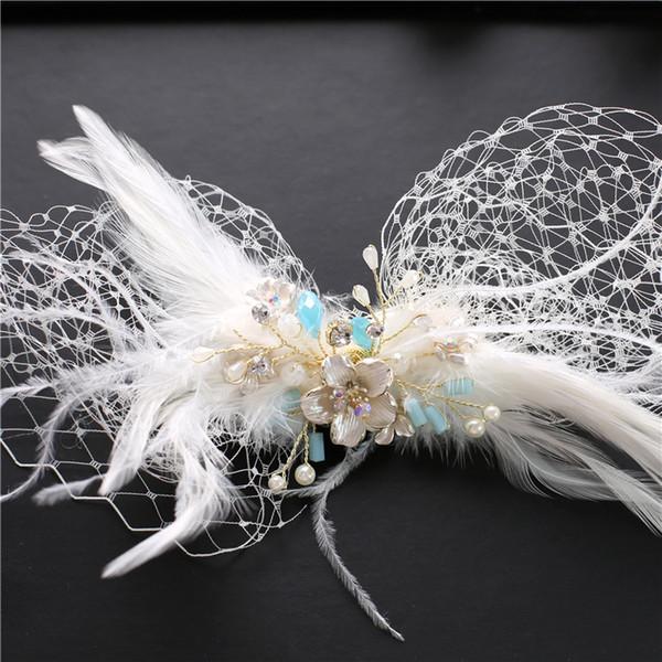 Bride Sweet mesh Headwear Feather Hairpin handmade beaded hair Wedding dress Wedding Jewelry