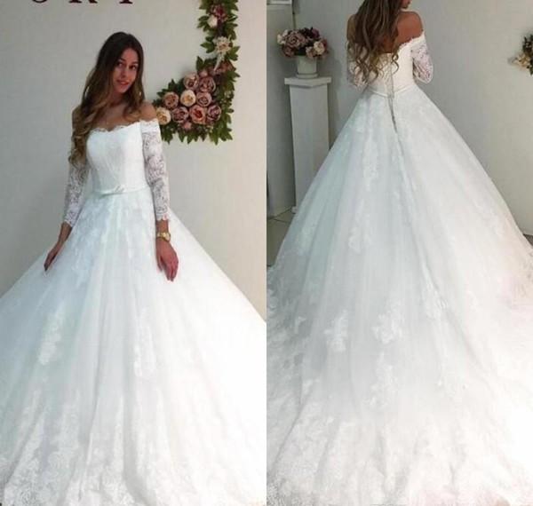 Großhandel 2018 Schulterfrei Brautkleid Sexy Sheer Long Sleeve ...