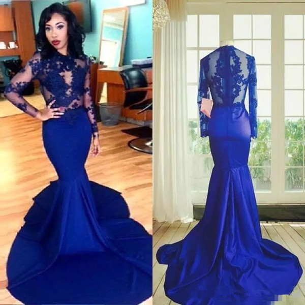 Hot Fashion Royal Blue African Lace Prom Dresses Mermaid High Neck See Through Lace Appliques Long Sleeves Prom Dresses Party Evening Wear Evening