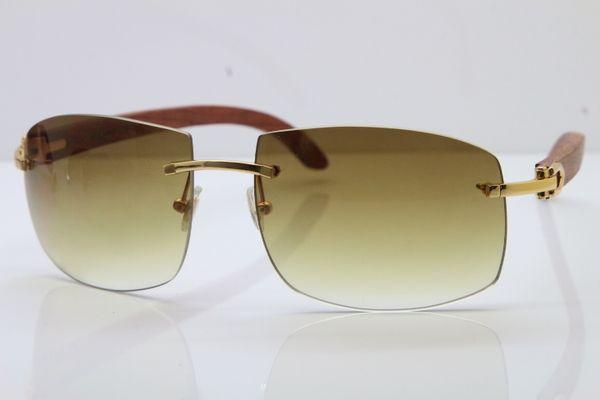 2019 Free Shipping Sun glasses Larger Rimless Wood Sunglasses Metal designer Carved Wood 4189705 Sunglasses Unisex Larger Sunglasses