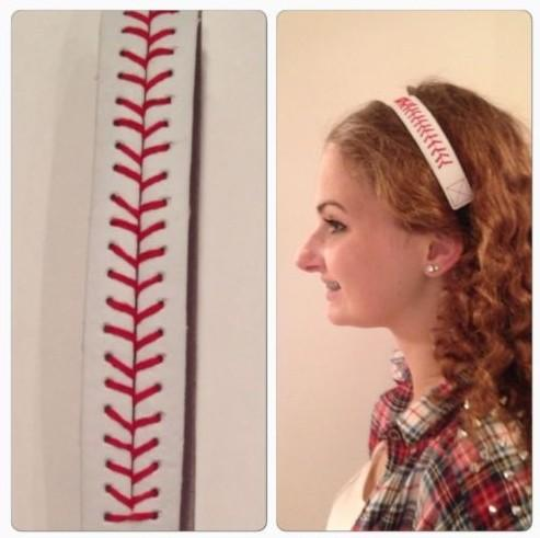 Fashion Softball Baseball Leather Headbands Stitching Seam Fast Pitch Hair Band Elastic Sport Bandage 50pcs/lot