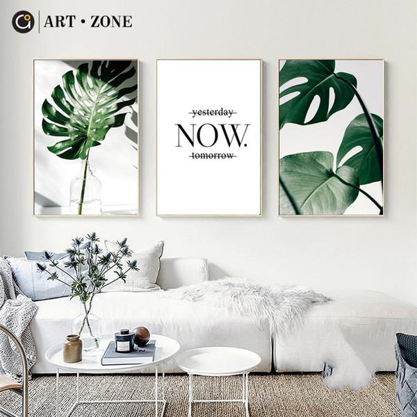 Großhandel ART ZONE Nordic Leinwand Gemälde Moderne Drucke Pflanze Blatt  Kunst Poster Drucke Grüne Wand Bilder Wohnzimmer Ungerahmt Poster Von ...