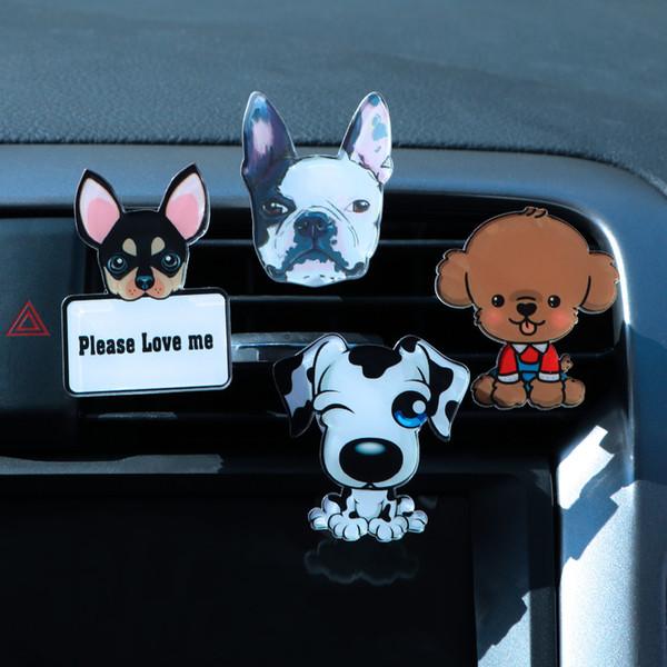 Auto Outlet Parfüm Cute Puppy Dog Autos Lufterfrischer Auto Ornament Solid Fragrance Klimaanlage Outlet Clip Auto Decor