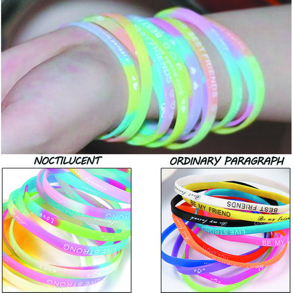 top popular Sports Women Printed Letters Luminous Silicone Bracelet Jewelry Unisex Trendy Rubber Flexible Wristband Wrist Bracelet Multicolor Random 2021