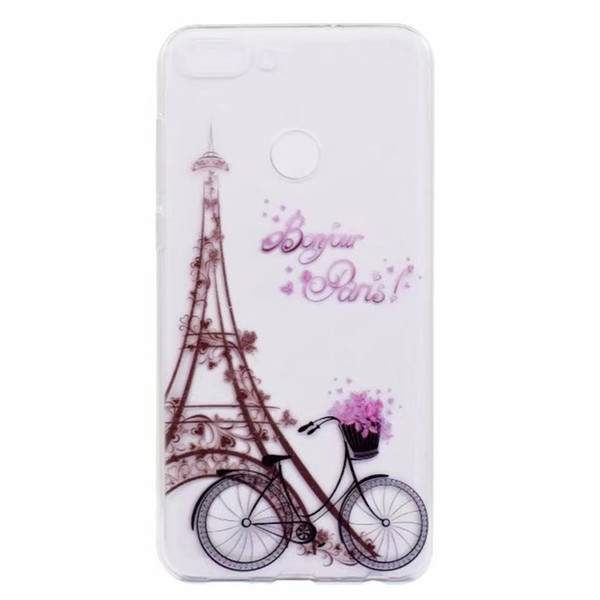 Transparent TPU Cover For Huawei Enjoy 7 7S Case Colour decoration Tower bike Butterfly Girl Design Phone Cases
