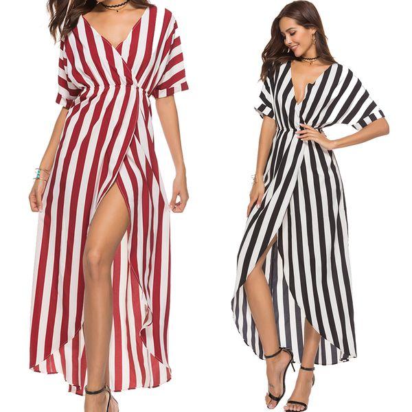 Women Dresses Plus Size with Deep V Neck Red White Stripe Color High Waist Hi-low Silhouette Asymmetric Hem Ladies Holiday Dresses