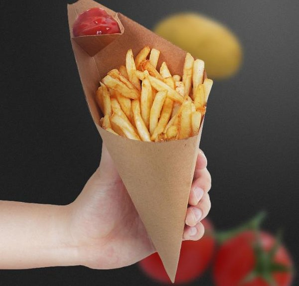500pcs French fries box Cone Chips Oil proof bag Triangle Chips box, Tack out disposable food package Fast shipping