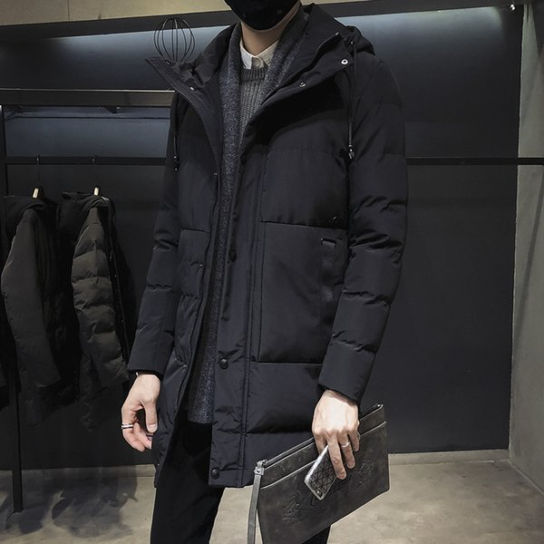 Cheap Men's Long Jacket Long Sleeve Winter Cotton Men Outwear Thick Casual Christmas Coat Boys Male Parkas Student Clothing Size M-3XL