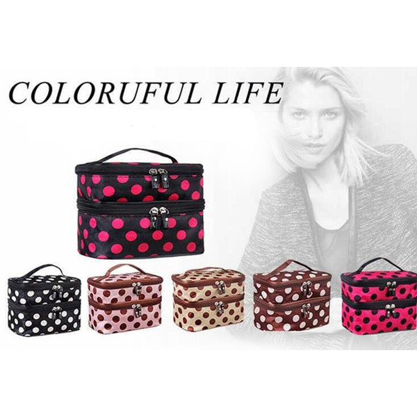 6Colors Makeup Cosmetic Bags Toiletry Retro Dot Beauty Wash Case Organizer Holder Handbag For Cosmetic Bags Cases