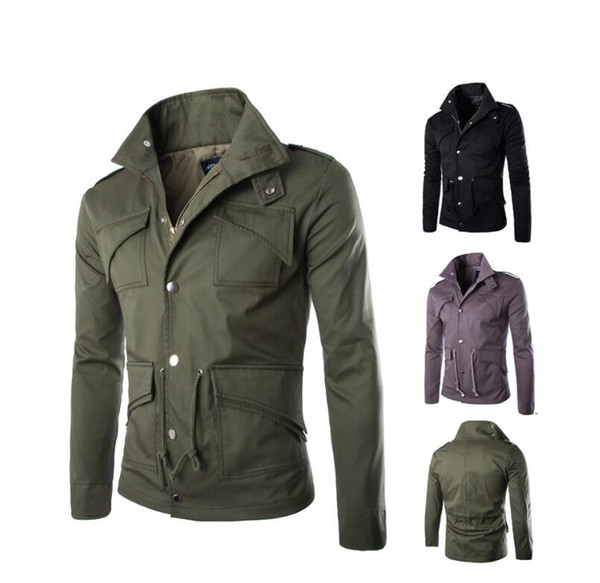 Fashion Clothes New Style Fashion Spring And Autumn Man Jacket Men ' ;S Outerwear Coats Plus Size Pocket Long Sleeve Pla
