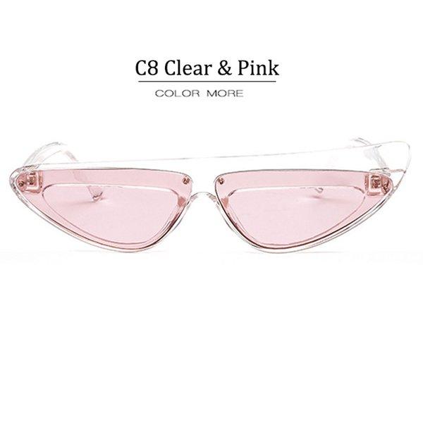 C8 Clear Frame Pink Lens
