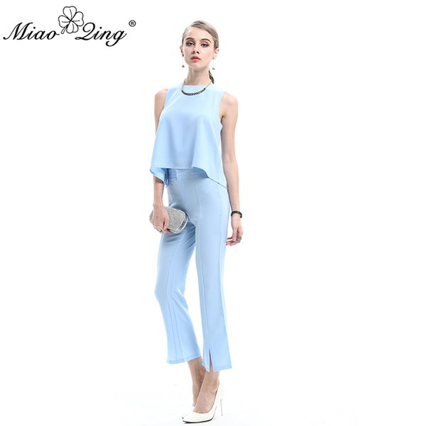 MIAOQING Casual 2 Piece Set Women Solider Blue Color Short Crop Top and Pants Sets Office Lady Overalls Chiffon Summer Outfits