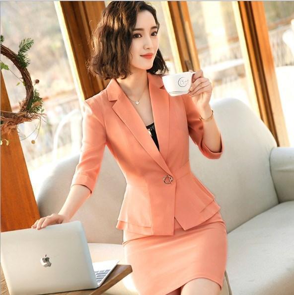 Uniforme de oficina Diseños Mujeres Entrevista Mini traje con falda Negro Blanco Púrpura Rojo Naranja 1/2 Blazer de manga 2 piezas Ropa de trabajo