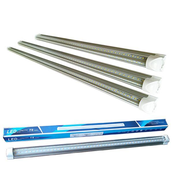 2 3 4 5 6 8 pies luces de tubo led Luces en forma de V Integración de doble fila LED t8 Frío Bombillas de ángulo de haz de 270 grados