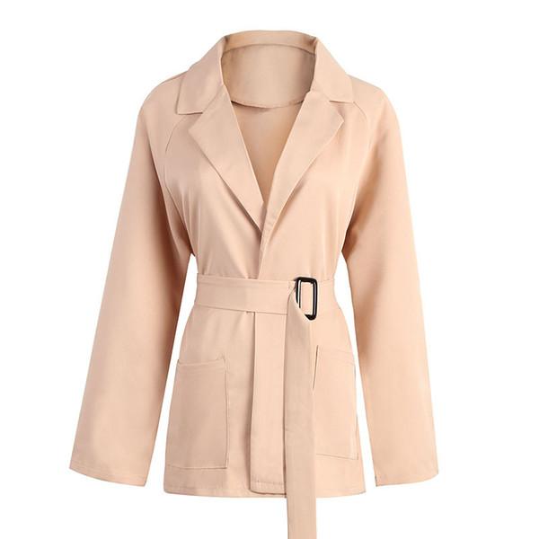Herbst Winter Frauen Umlegekragen Lace Up Trenchcoat Plus Size Büro-Dame Slim Taschen Long Outwear Casual Windbreaker