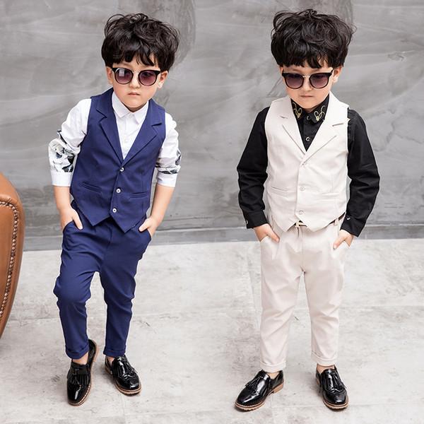 Children Suit Boys Suits Kids Vest Boys Formal Suit For Weddings Boys Clothes Set Plaid Vest+Pants 2pcs 3-10Y