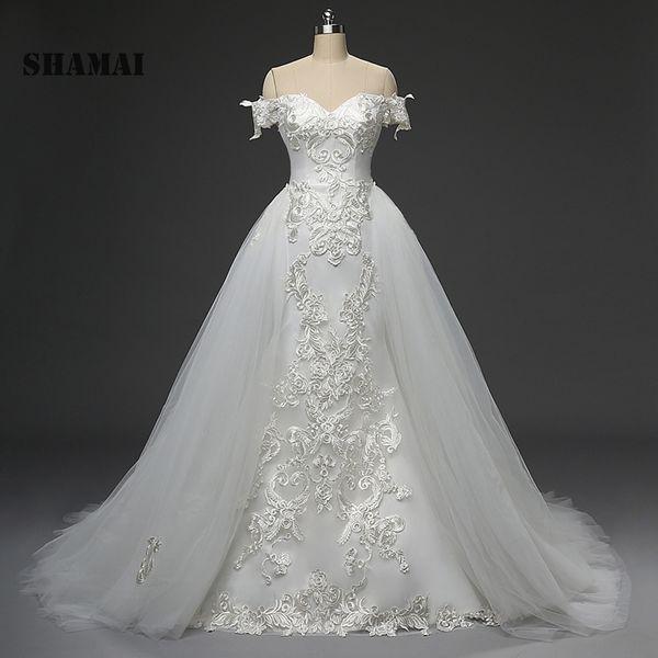 SHAMAI robe de mariage 2018 new wedding gowns off shoulder bride dress lace appliques luxury detachable skirt wedding dresses