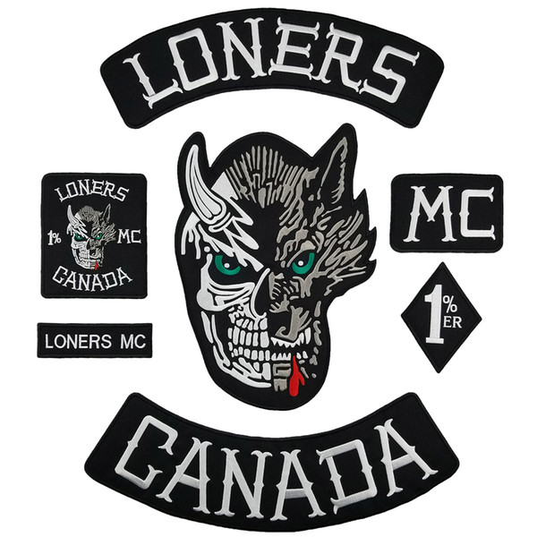 Full SET LONERS NOMADS MC 1% Embroidered Biker Patch Motorcyle Biker Vest Jacket Large Back Patch 7 pcs/ Set Free shipping