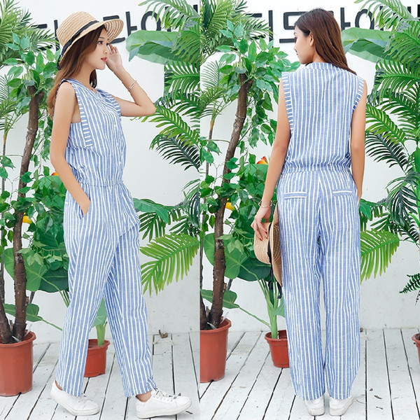 Pengpious fashion jumpsuit for young ladies cotton linen jumpsuit for school girls sleeveless design striped