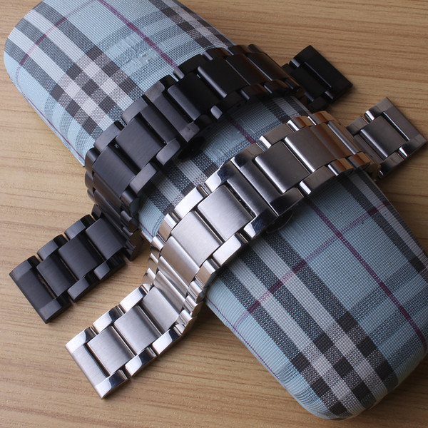 Watchbands 18MM 20MM 21mm 22MM 24MM Silver Black stainless steel solid links watch straps bracelets matte and polished for mens