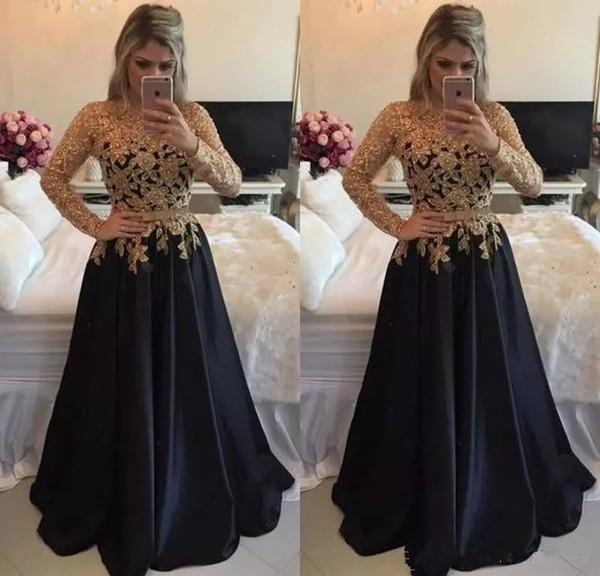 Compre Sexy Vestido De Fiesta De Encaje De Manga Larga De Color Dorado Y Negro Una Línea De Longitud Del Piso Satén Vestido De Fiesta De Gala Vestidos