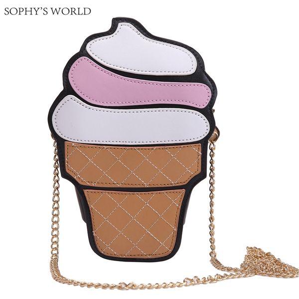 Cute Cartoon Women Bag Ice cream Cupcake Mini Bags PU Leather Small Chain Handbag Clutch Crossbody Girl Shoulder Messenger bag