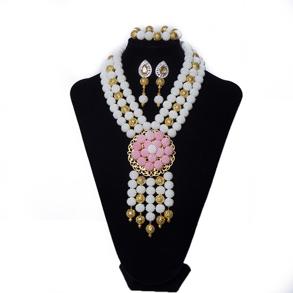White and Gold 3 Rows Imitation Pearl Nigerian Beads Jewelry Set Womens Wedding Bridal Necklace African Beads Jewelry Set Free Shipping