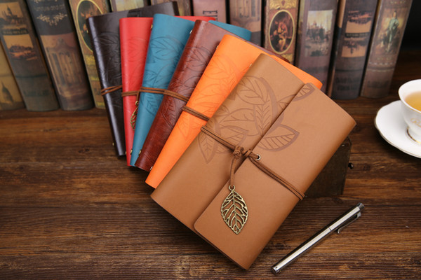 best selling Vintage Leaf notepad Creative student Notebook Classical Travel Diary With Leaf Loose Sheet Vintage Gift blank sketches kraft papers Notepad