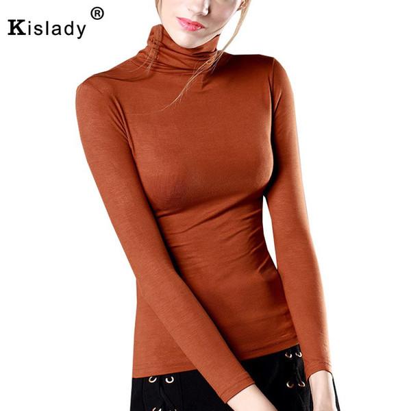 Kisaldy 2018 Neue Frühlingsfrauen Rollkragen Slim Bottom Shirt Langarm Schwarz Weiß Grün Sexy Flexible Tops XXXL Plus Größen