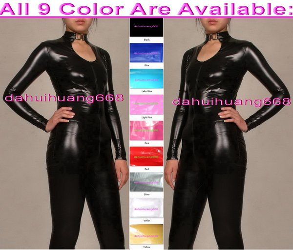 Sexy Shiny PVC Suit Catsuit Costumes Sexy Women Body Suit leotard Costumes New 9 Color PVC Bodysuit Costumes No Head/Hand/Foot DH192